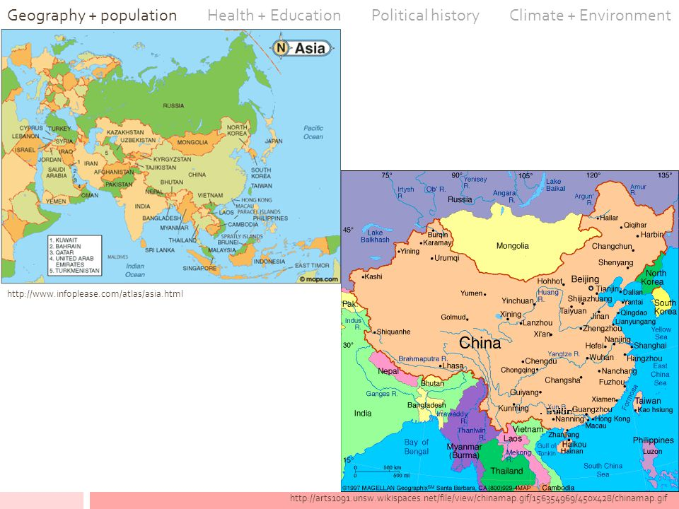 http://arts1091.unsw.wikispaces.net/file/view/chinamap.gif/156354969/450x428/chinamap.gif Geography + population Health + Education Political history