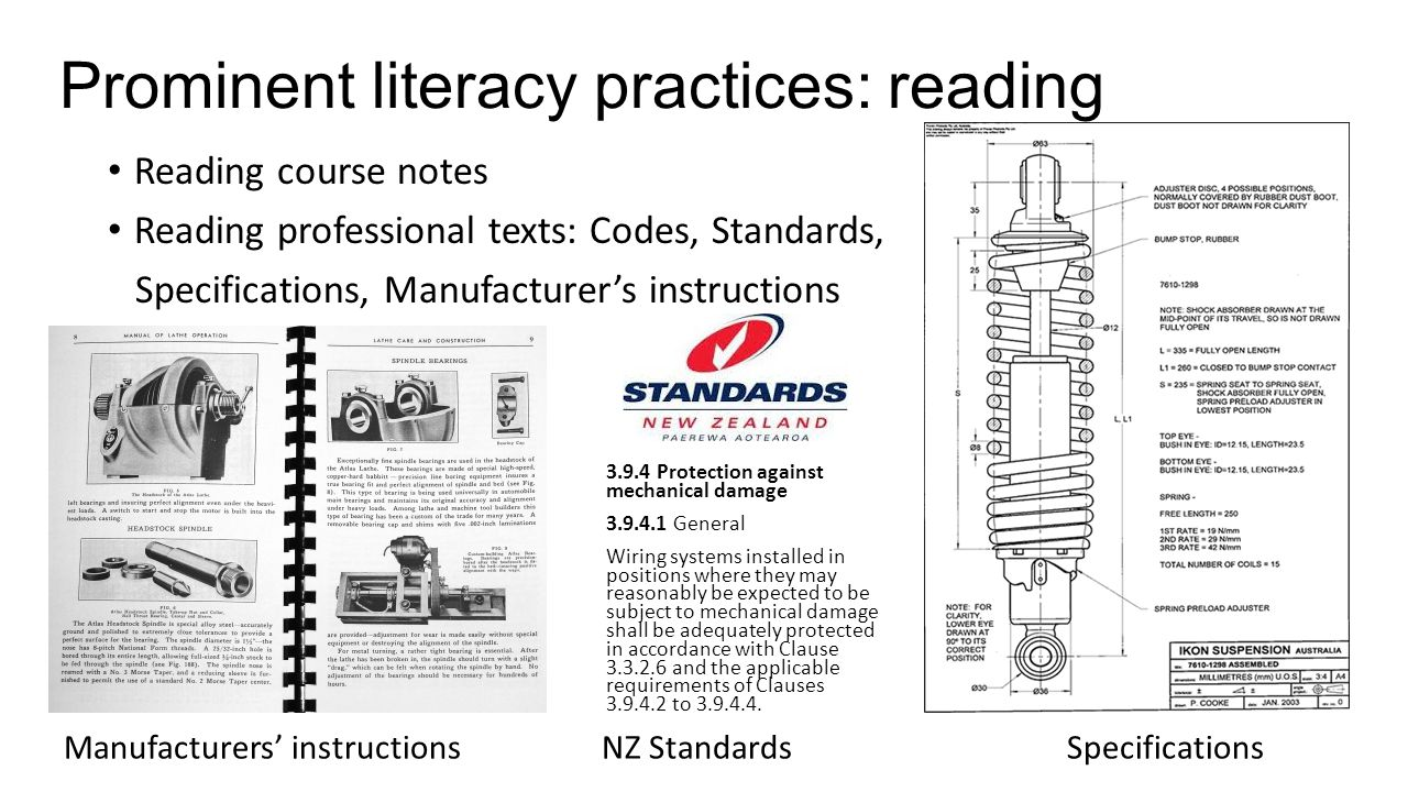 Prominent literacy practices: reading Reading course notes Reading professional texts: Codes, Standards, Specifications, Manufacturer's instructions M