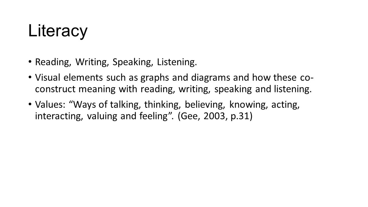 Literacy Reading, Writing, Speaking, Listening. Visual elements such as graphs and diagrams and how these co- construct meaning with reading, writing,