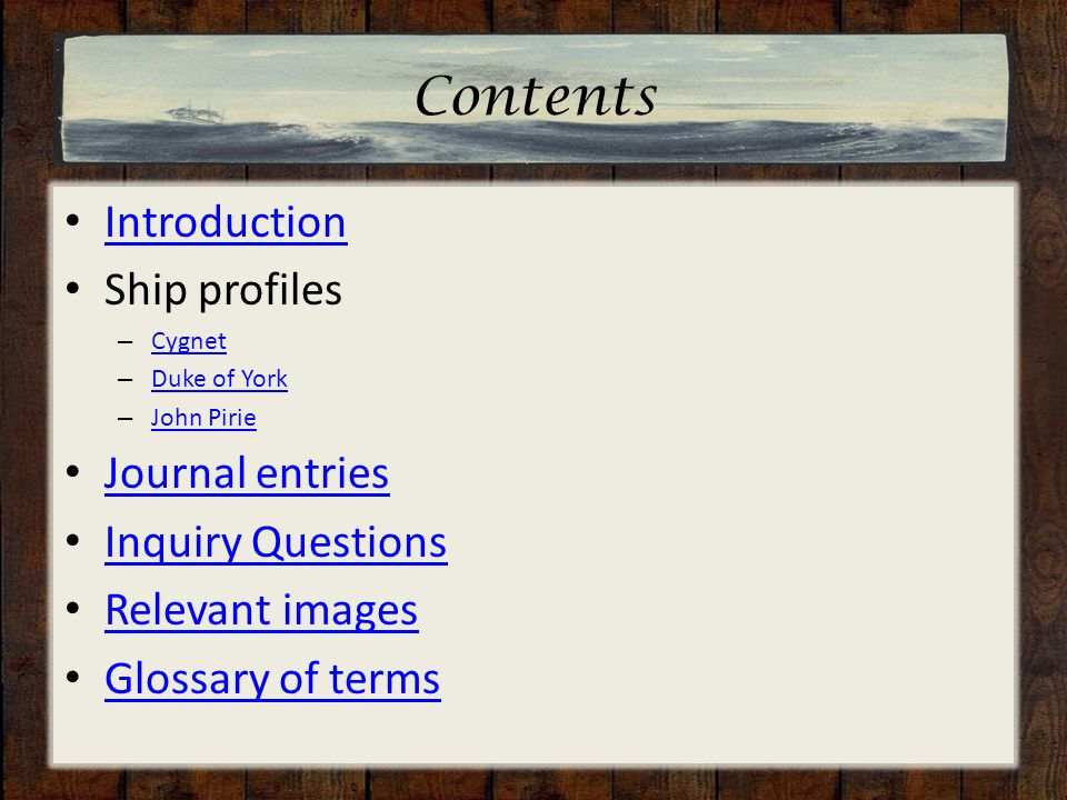 Contents Introduction Ship profiles – Cygnet Cygnet – Duke of York Duke of York – John Pirie John Pirie Journal entries Inquiry Questions Relevant ima