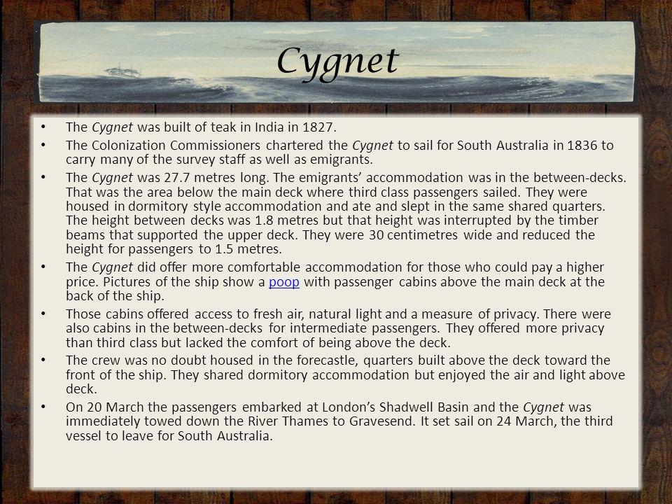 Cygnet The Cygnet was built of teak in India in 1827.