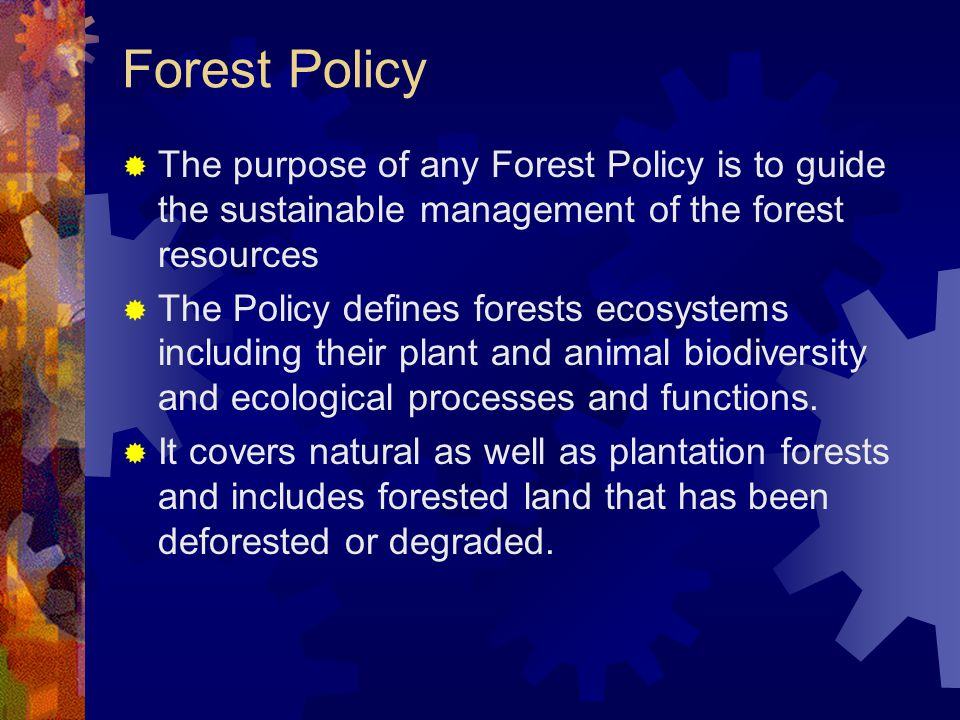 Forest Policy  The purpose of any Forest Policy is to guide the sustainable management of the forest resources  The Policy defines forests ecosystem