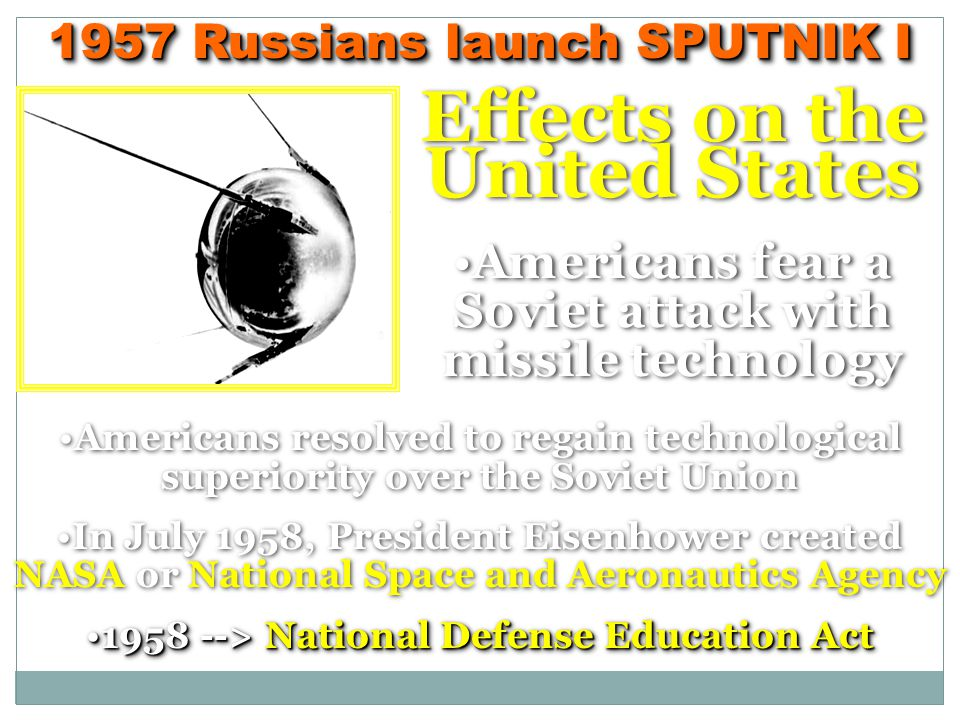 Effects on the United States Americans fear a Soviet attack with missile technology Effects on the United States Americans fear a Soviet attack with missile technology Americans resolved to regain technological superiority over the Soviet Union In July 1958, President Eisenhower created NASA or National Space and Aeronautics Agency 1958 -->National Defense Education Act1958 --> National Defense Education Act Americans resolved to regain technological superiority over the Soviet Union In July 1958, President Eisenhower created NASA or National Space and Aeronautics Agency 1958 -->National Defense Education Act1958 --> National Defense Education Act 1957 Russians launch SPUTNIK I