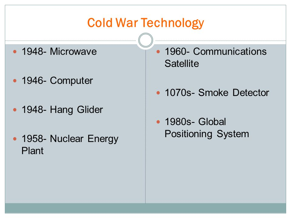 Cold War Technology 1948- Microwave 1946- Computer 1948- Hang Glider 1958- Nuclear Energy Plant 1960- Communications Satellite 1070s- Smoke Detector 1980s- Global Positioning System