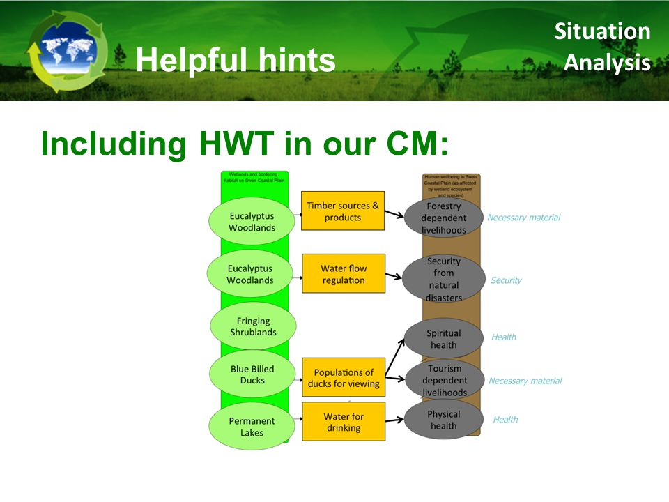 Including HWT in our CM: Helpful hints Situation Analysis