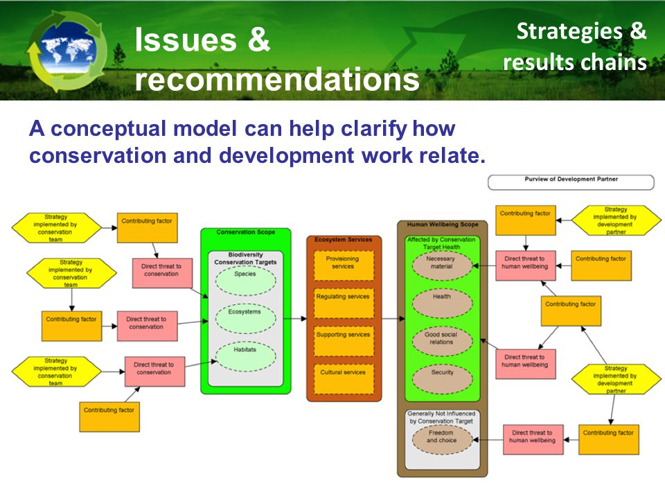 Strategies & results chains Issues & recommendations A conceptual model can help clarify how conservation and development work relate.