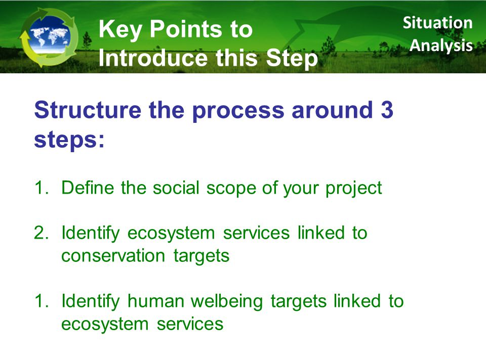 Result directly benefiting humans Specific Example General Relationship Loggers get more money for certified products Eco-certification of timber harvesting Case 1: Human Wellbeing enhanced via socially-oriented strategy Social benefits Strategies & results chains