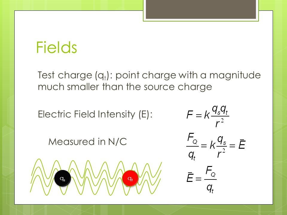 Fields Test charge (q t ): point charge with a magnitude much smaller than the source charge Electric Field Intensity (E): Measured in N/C qsqs qsqs q