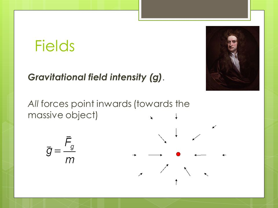 Fields Gravitational field intensity (g). All forces point inwards (towards the massive object)