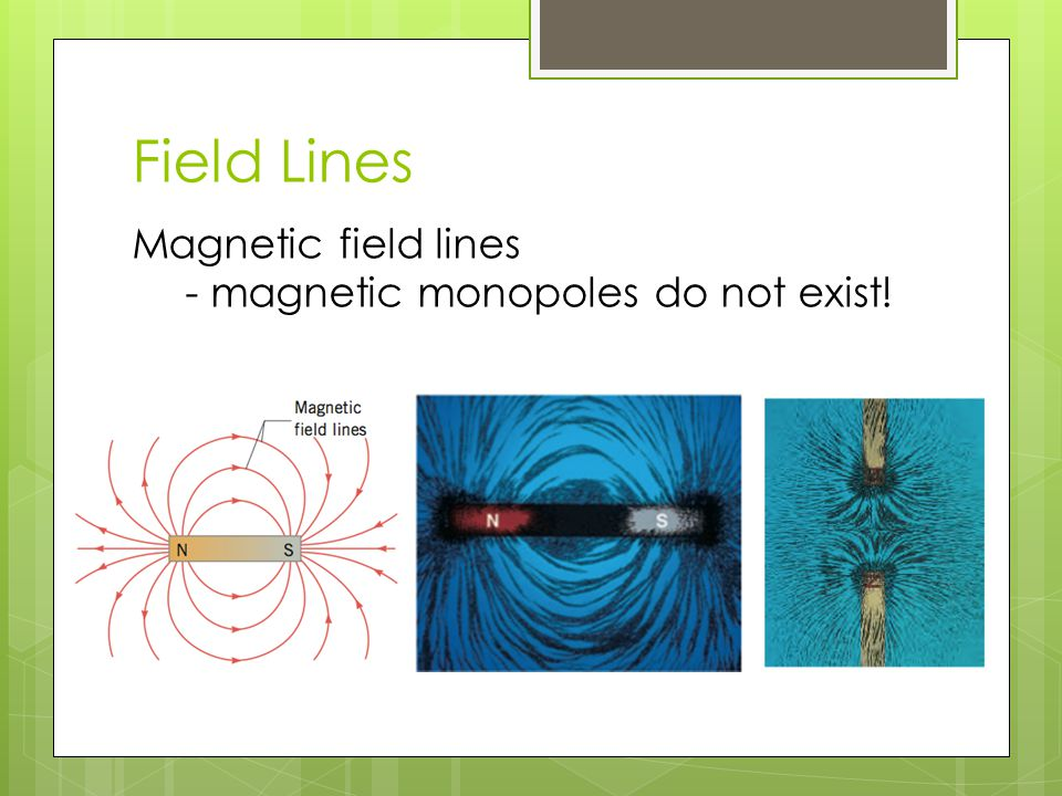 Field Lines Magnetic field lines - magnetic monopoles do not exist!