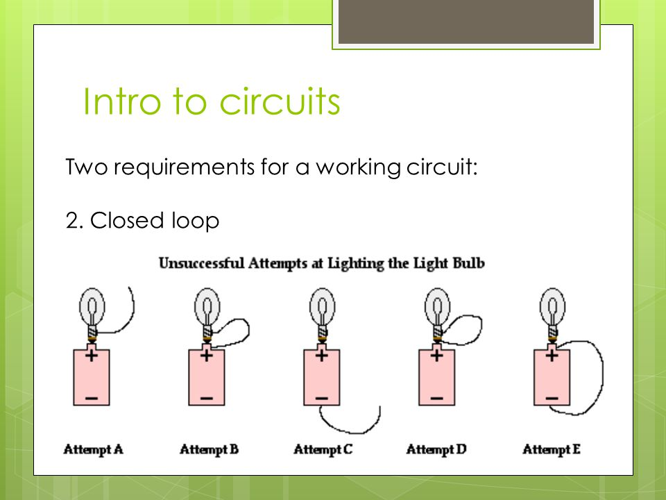 Intro to circuits Two requirements for a working circuit: 2. Closed loop