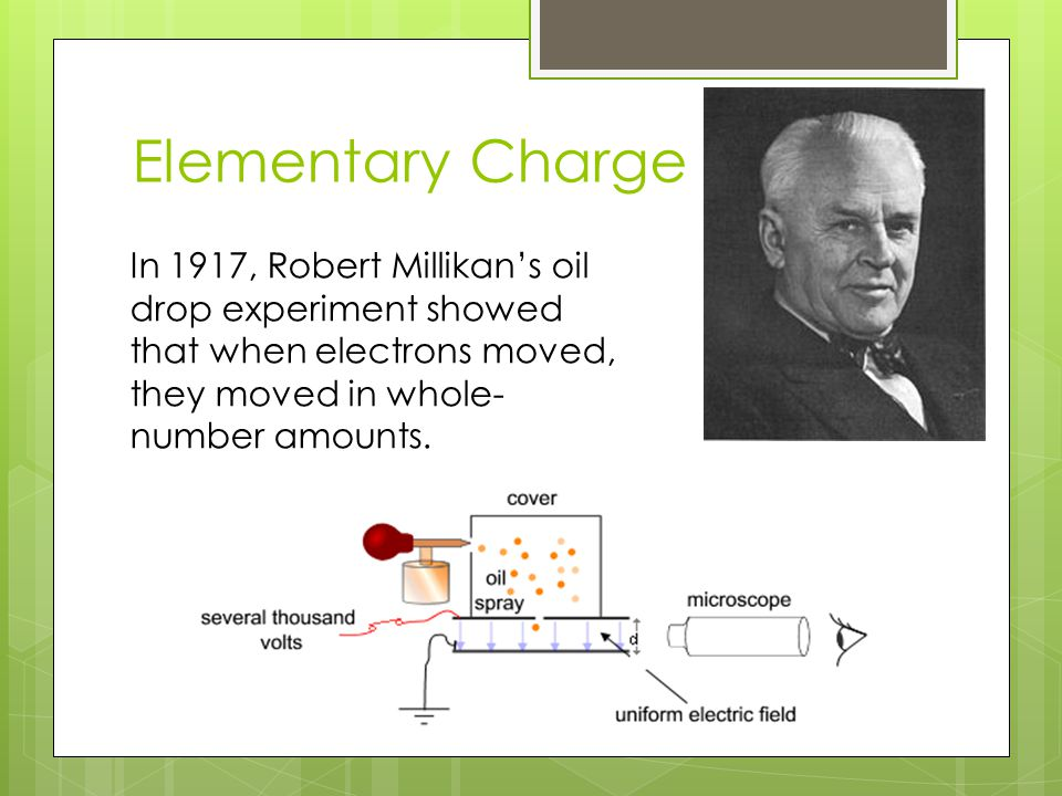 Elementary Charge In 1917, Robert Millikan's oil drop experiment showed that when electrons moved, they moved in whole- number amounts.
