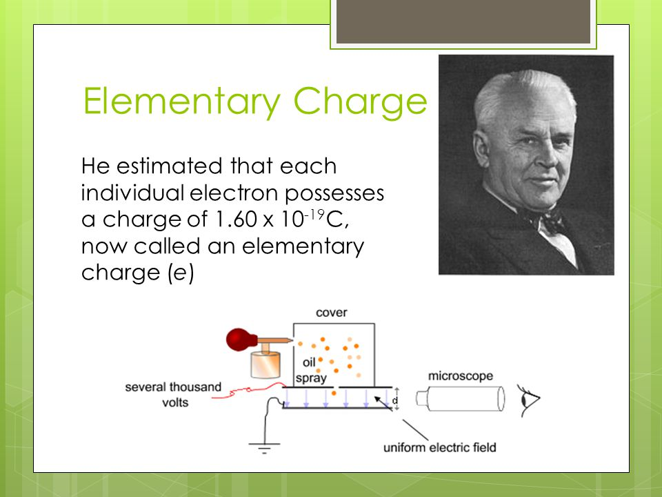 Elementary Charge He estimated that each individual electron possesses a charge of 1.60 x 10 -19 C, now called an elementary charge (e)