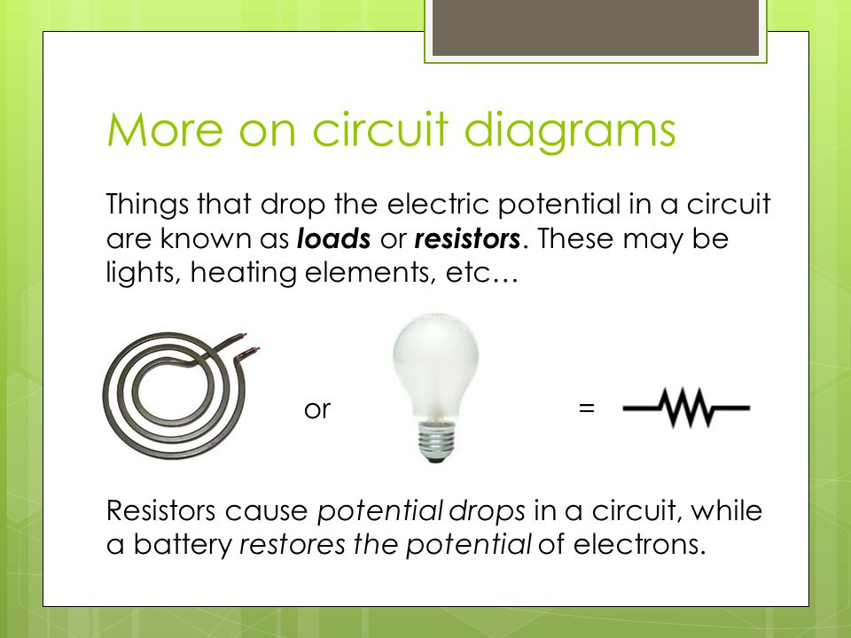 More on circuit diagrams Things that drop the electric potential in a circuit are known as loads or resistors. These may be lights, heating elements,
