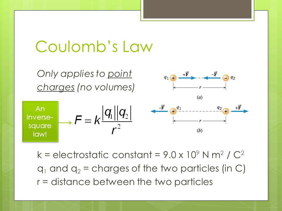 Coulomb's Law Only applies to point charges (no volumes) k = electrostatic constant = 9.0 x 10 9 N m 2 / C 2 q 1 and q 2 = charges of the two particle