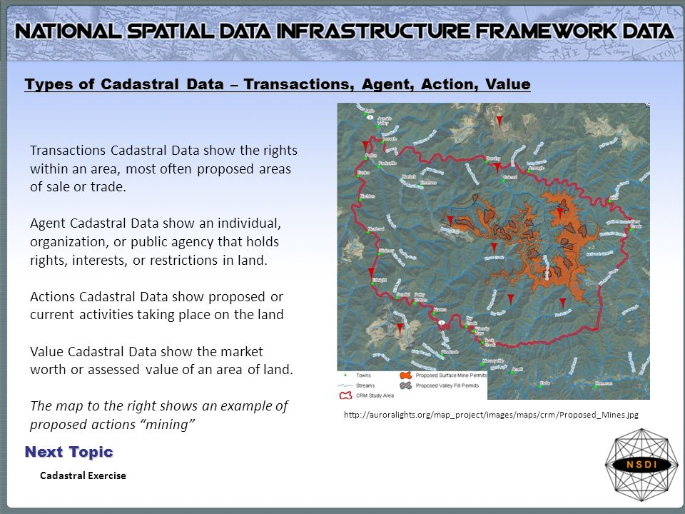 Types of Cadastral Data – Transactions, Agent, Action, Value Transactions Cadastral Data show the rights within an area, most often proposed areas of