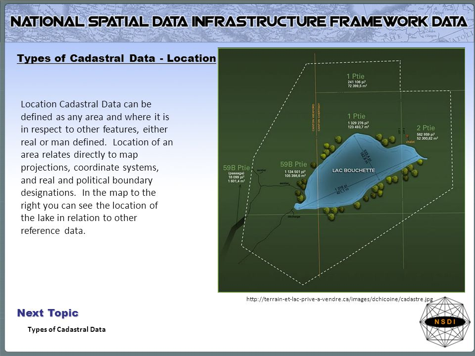 Types of Cadastral Data - Location Location Cadastral Data can be defined as any area and where it is in respect to other features, either real or man