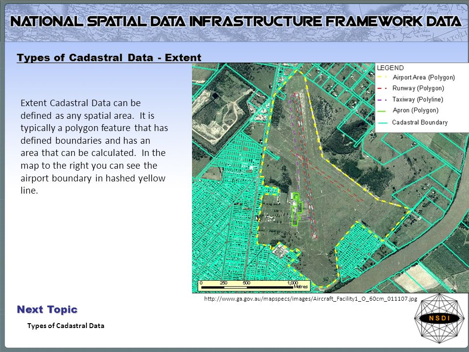 Types of Cadastral Data - Extent Extent Cadastral Data can be defined as any spatial area. It is typically a polygon feature that has defined boundari