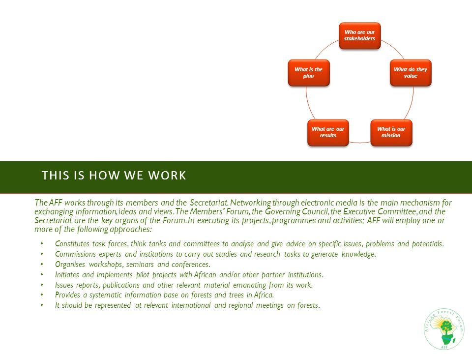 THIS IS HOW WE WORK The AFF works through its members and the Secretariat.