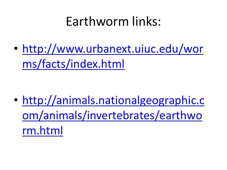 Earthworm links: http://www.urbanext.uiuc.edu/wor ms/facts/index.html http://www.urbanext.uiuc.edu/wor ms/facts/index.html http://animals.nationalgeographic.c om/animals/invertebrates/earthwo rm.html http://animals.nationalgeographic.c om/animals/invertebrates/earthwo rm.html