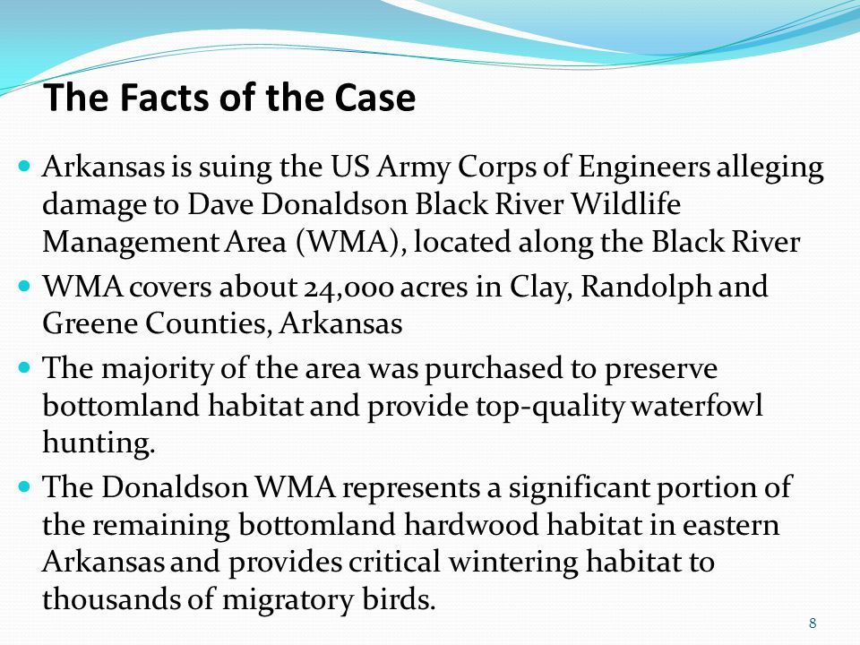 Dave Donaldson Black River Wildlife Management Area (WMA) 9 Dave Donaldson WMA is a Crown Jewel of our state's great wildlife management heritage…. Arkansas Game & Fish Commission Chief Legal Counsel Jim Goodhart Photo from the Arkansas Game and Fish Commission