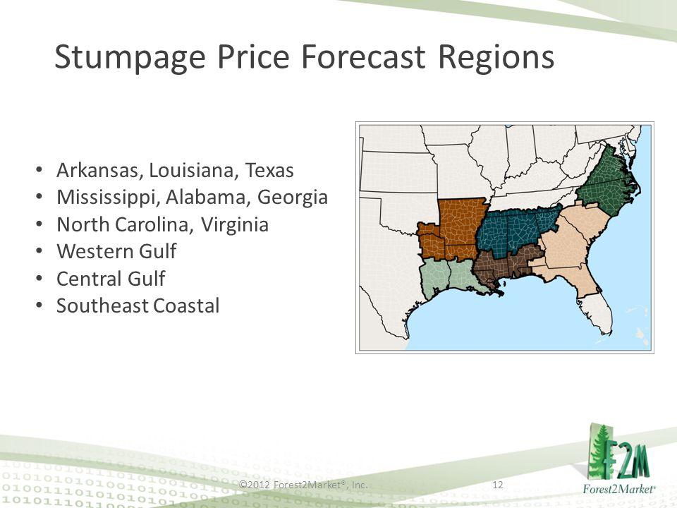 ©2012 Forest2Market®, Inc.12 Stumpage Price Forecast Regions Arkansas, Louisiana, Texas Mississippi, Alabama, Georgia North Carolina, Virginia Western Gulf Central Gulf Southeast Coastal
