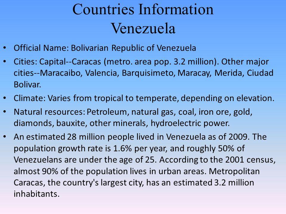 Countries Information Venezuela Official Name: Bolivarian Republic of Venezuela Cities: Capital--Caracas (metro. area pop. 3.2 million). Other major c