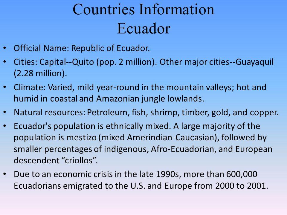 Countries Information Ecuador Official Name: Republic of Ecuador. Cities: Capital--Quito (pop. 2 million). Other major cities--Guayaquil (2.28 million