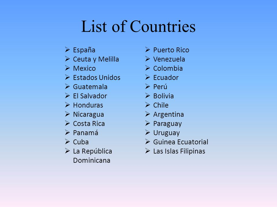 List of Countries  España  Ceuta y Melilla  Mexico  Estados Unidos  Guatemala  El Salvador  Honduras  Nicaragua  Costa Rica  Panamá  Cuba 