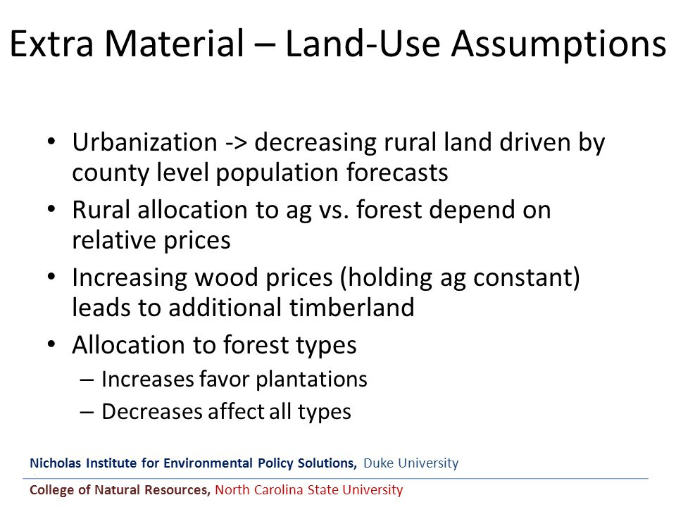 Nicholas Institute for Environmental Policy Solutions, Duke University College of Natural Resources, North Carolina State University Extra Material – Land-Use Assumptions Urbanization -> decreasing rural land driven by county level population forecasts Rural allocation to ag vs.