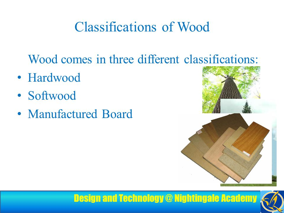 Design and Technology @ Nightingale Academy Classifications of Wood Wood comes in three different classifications: Hardwood Softwood Manufactured Board