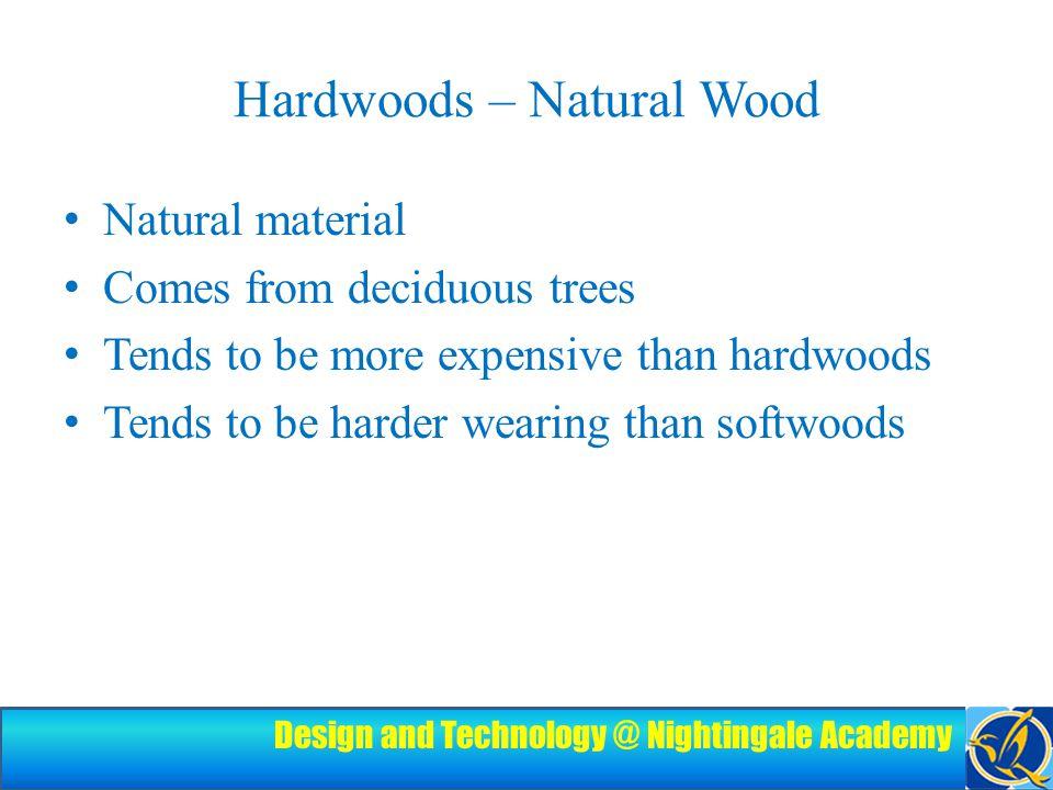 Design and Technology @ Nightingale Academy Examples Oak Mahogany Teak