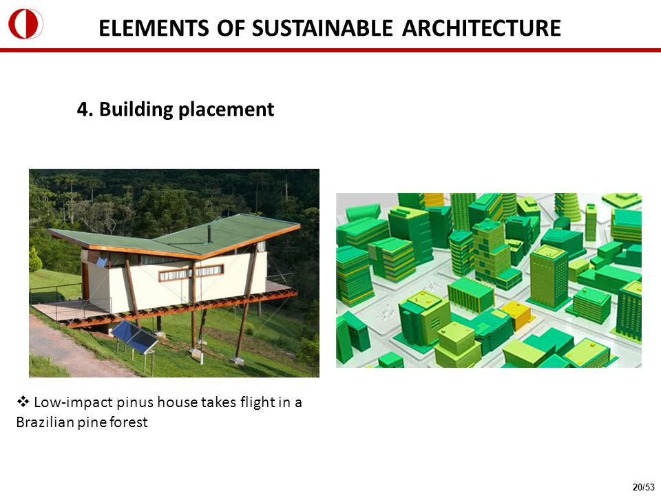 4. Building placement  Low-impact pinus house takes flight in a Brazilian pine forest ELEMENTS OF SUSTAINABLE ARCHITECTURE 20/53