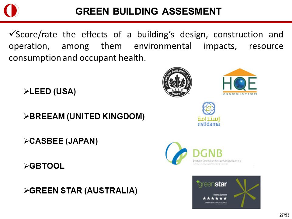 Score/rate the effects of a building's design, construction and operation, among them environmental impacts, resource consumption and occupant health.