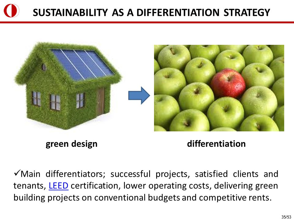Main differentiators; successful projects, satisfied clients and tenants, LEED certification, lower operating costs, delivering green building projects on conventional budgets and competitive rents.LEED green designdifferentiation SUSTAINABILITY AS A DIFFERENTIATION STRATEGY 35/53