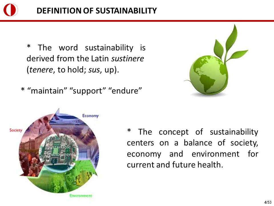 "DEFINITION OF SUSTAINABILITY * ""maintain"" ""support"" ""endure"" * The concept of sustainability centers on a balance of society, economy and environment"