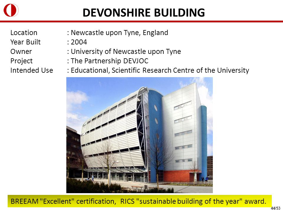 Location: Newcastle upon Tyne, England Year Built: 2004 Owner: University of Newcastle upon Tyne Project: The Partnership DEVJOC Intended Use: Educati