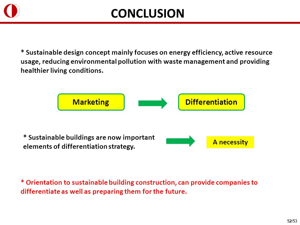 CONCLUSION * Sustainable design concept mainly focuses on energy efficiency, active resource usage, reducing environmental pollution with waste management and providing healthier living conditions.