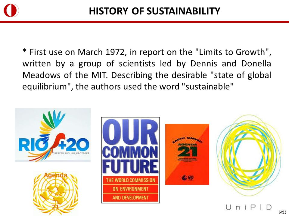 HISTORY OF SUSTAINABILITY * First use on March 1972, in report on the Limits to Growth , written by a group of scientists led by Dennis and Donella Meadows of the MIT.