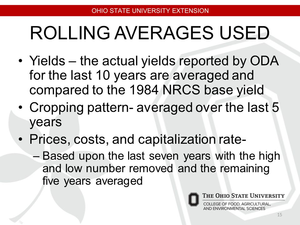 ROLLING AVERAGES USED Yields – the actual yields reported by ODA for the last 10 years are averaged and compared to the 1984 NRCS base yield Cropping