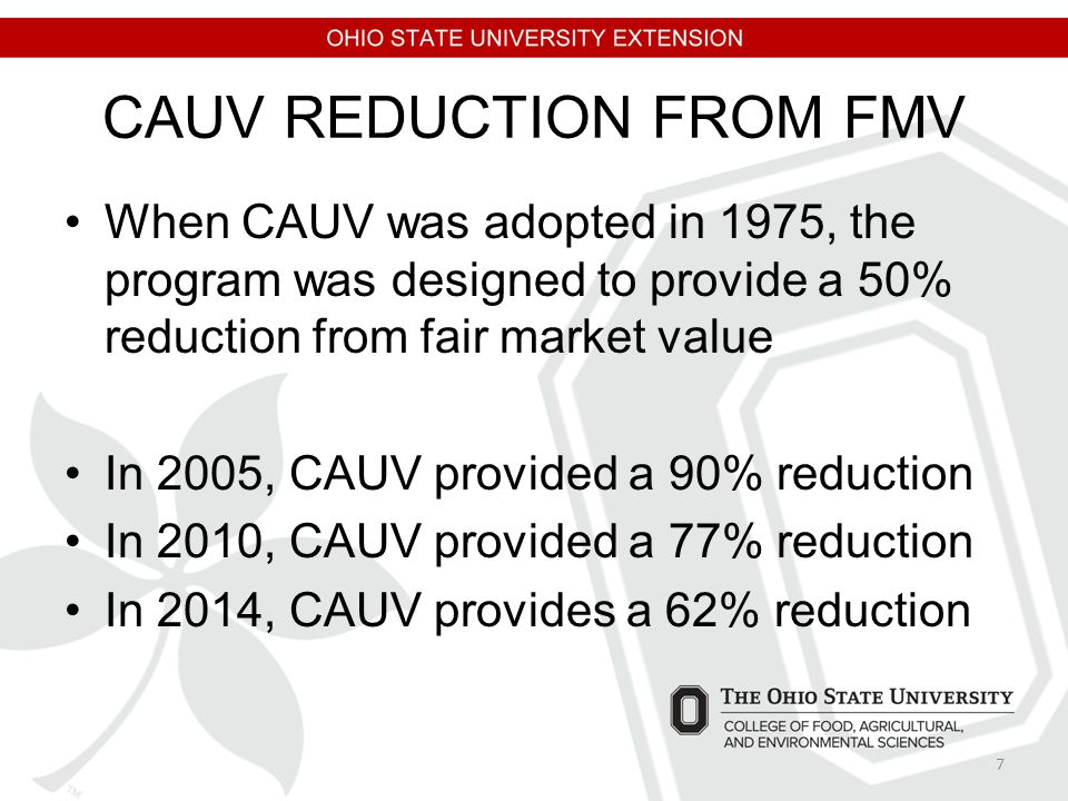 CAUV REDUCTION FROM FMV When CAUV was adopted in 1975, the program was designed to provide a 50% reduction from fair market value In 2005, CAUV provid