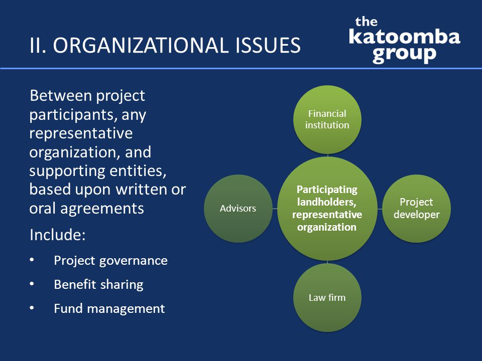 II. ORGANIZATIONAL ISSUES Between project participants, any representative organization, and supporting entities, based upon written or oral agreement
