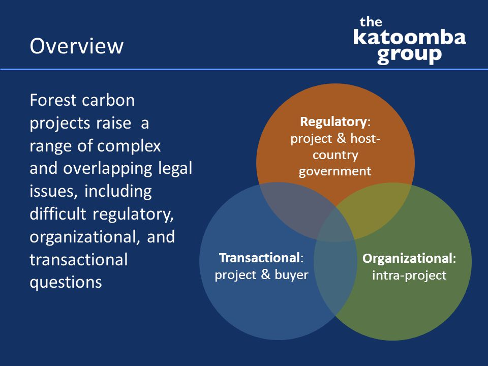 Regulatory: project & host- country government Organizational: intra-project Transactional: project & buyer Overview Forest carbon projects raise a range of complex and overlapping legal issues, including difficult regulatory, organizational, and transactional questions