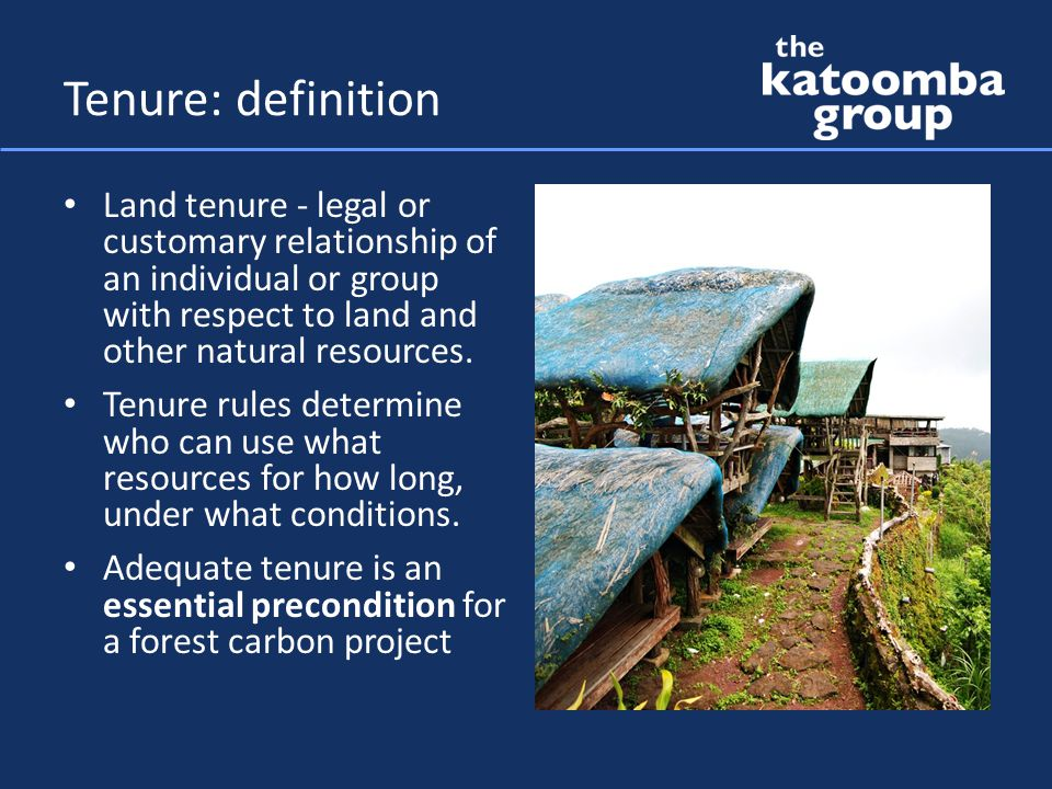 Tenure: rights in land, forest & carbon Rights in land and forest Minimum: – use rights sufficient to support project activities – right to exclude incompatible uses – for the duration of project activities Customary rights may be sufficient if secure and recognized by law Rights in carbon Minimum: – right to carbon benefits from project activities – right to transfer carbon benefits Generally must be implied from law – May be closely tied to private rights in land – May belong to the people as a whole – Or another arrangement