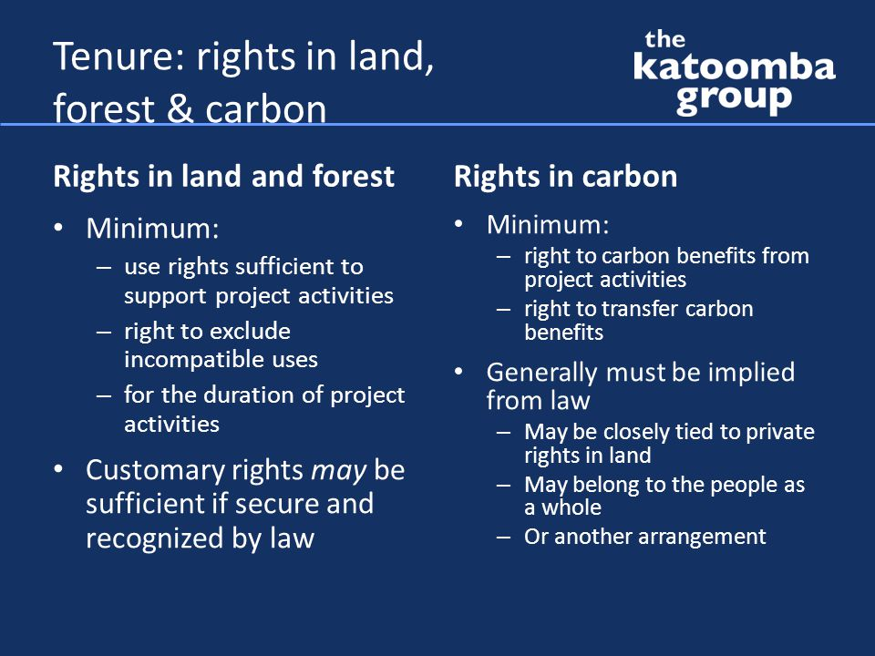 Tenure problems Land title not validly vested in local users Land use arrangements poorly defined or recorded Unclear who has rights to forest carbon