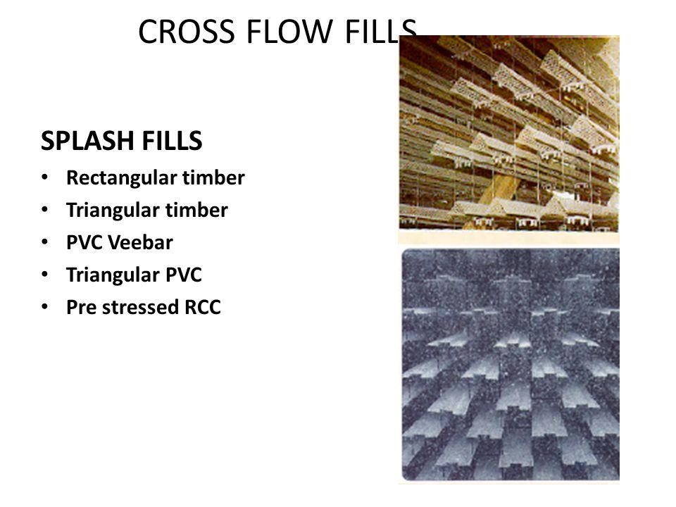 SPLASH FILLS Rectangular timber Triangular timber PVC Veebar Triangular PVC Pre stressed RCC CROSS FLOW FILLS