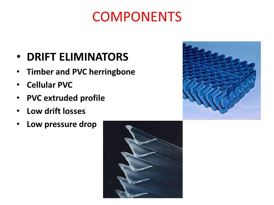 DRIFT ELIMINATORS Timber and PVC herringbone Cellular PVC PVC extruded profile Low drift losses Low pressure drop COMPONENTS