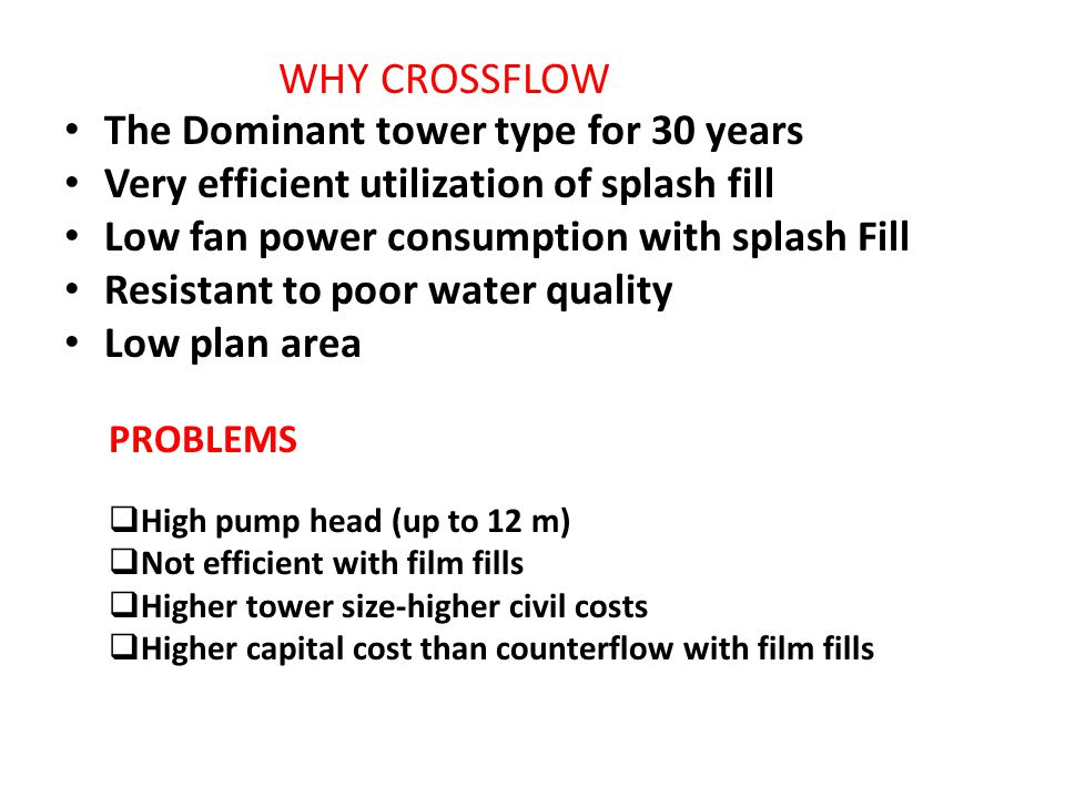 The Dominant tower type for 30 years Very efficient utilization of splash fill Low fan power consumption with splash Fill Resistant to poor water qual