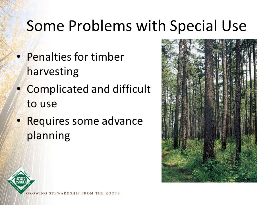 Some Problems with Special Use Penalties for timber harvesting Complicated and difficult to use Requires some advance planning