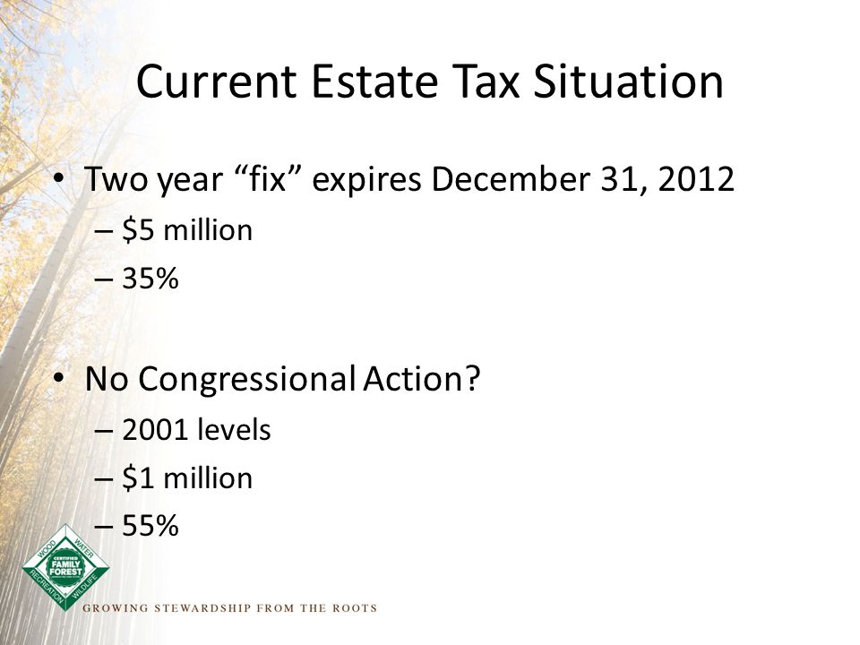 Current Estate Tax Situation Two year fix expires December 31, 2012 – $5 million – 35% No Congressional Action.